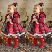 Toddler Kid Baby Girls Christmas Plaid Dress Xmas Pageant Party Princess Lace Tutu Dress 1-6 Years