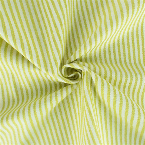 Pear Green/Ivory Cotton Stripe Woven Drapery Fabric, Fabric By the Yard