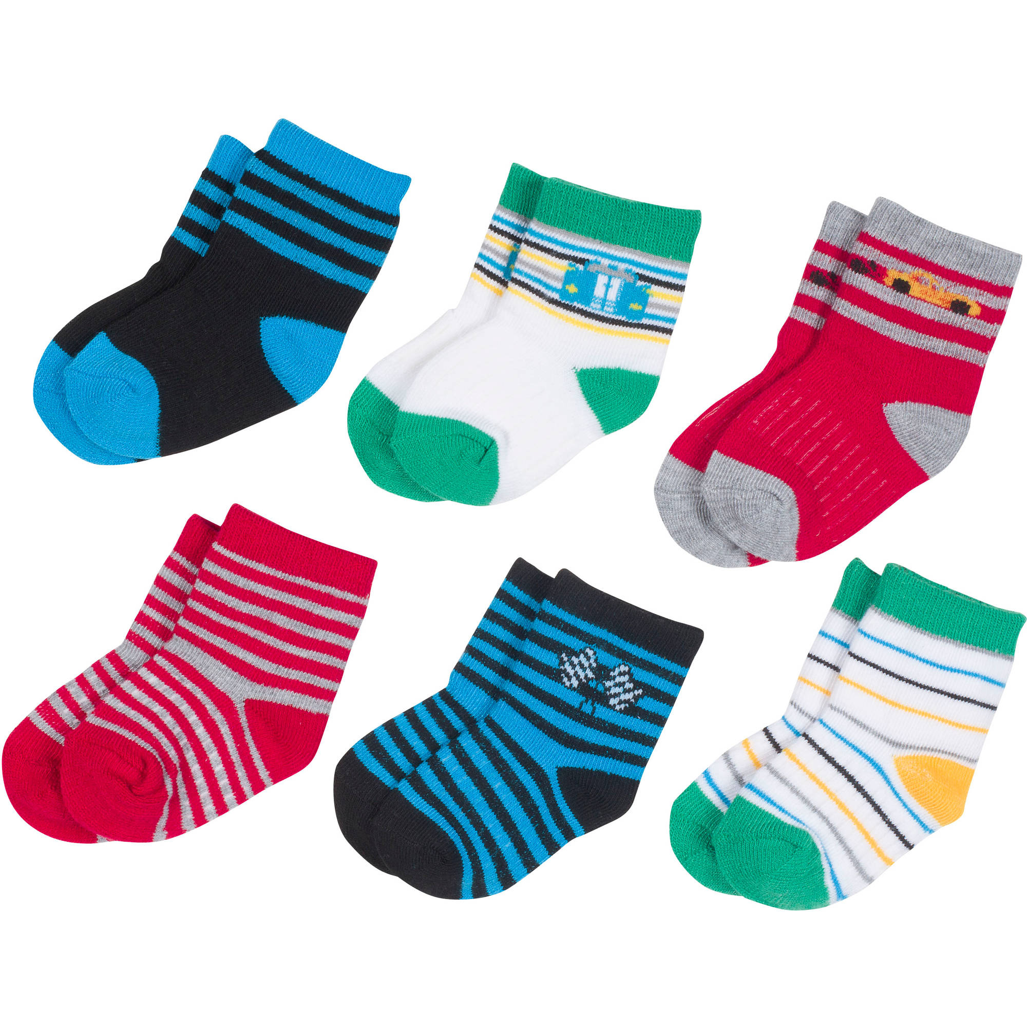 Growing Socks by Peds, Boy Infant, Racing Stripes, 6 Pairs