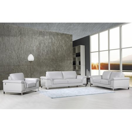 Global Furniture 411 Modern Light Gray Genuine Italian Leather Sofa Set 3 Pcs
