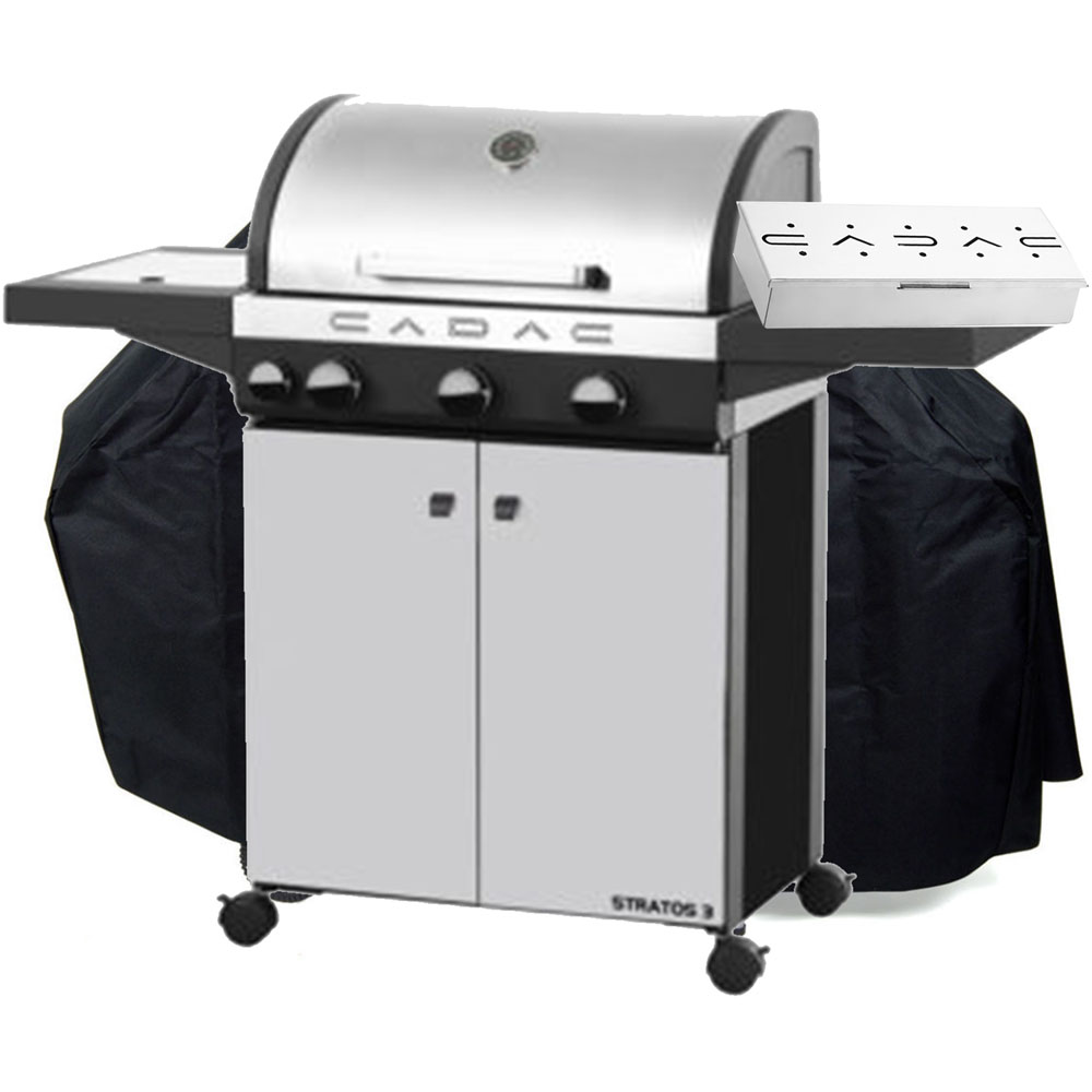 Stratos 3-Burner Grill, Cover, & Smoker Box