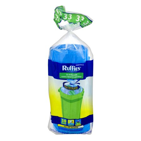 Ruffies Extra Large Twist Tie Trash Bags, 33 Gallon, 50 Count ()