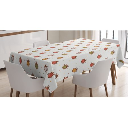 Ladybugs Decorations Tablecloth, Pastel Color Vintage Style Bugs Nostalgic Setting Good Luck Childhood Theme, Rectangular Table Cover for Dining Room Kitchen, 60 X 90 Inches, Multi, by Ambesonne