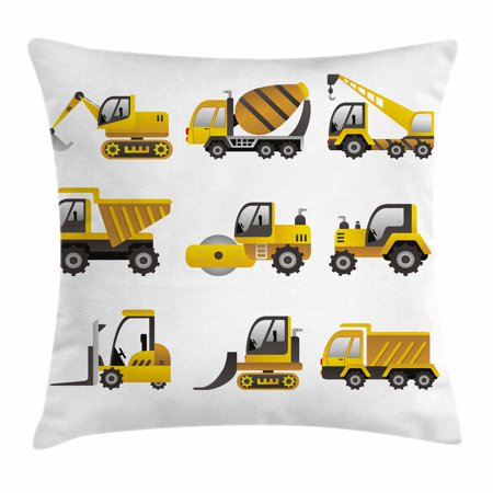 Construction Throw Pillow Cushion Cover  Big Vehicles Icon Collection Engineering Building Theme Clip Art Style  Decorative Square Accent Pillow Case  20 X 20 Inches  Yellow Grey White  By Ambesonne