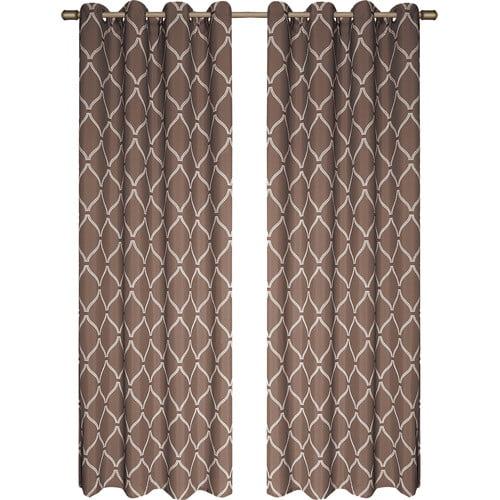 "2 Pack Celine Window Panel, Window Curtains, Stencil Trellis / Lattice Design, Chocolate, 38""x84"""