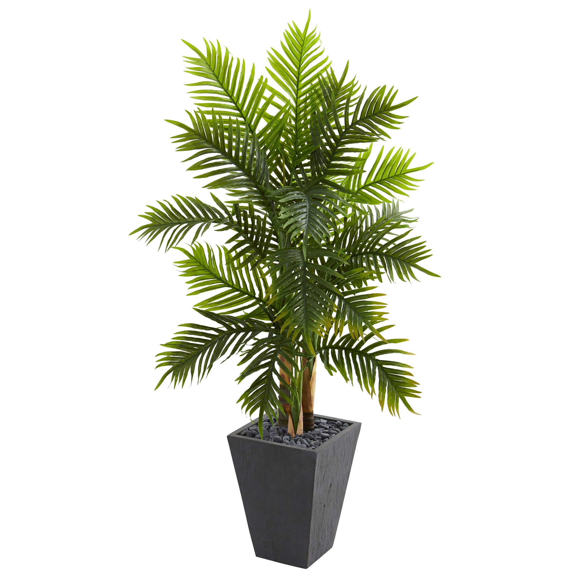 Nearly Natural 5.5' Areca Palm Artificial Tree in Slate Finished Planter (Real Touch)
