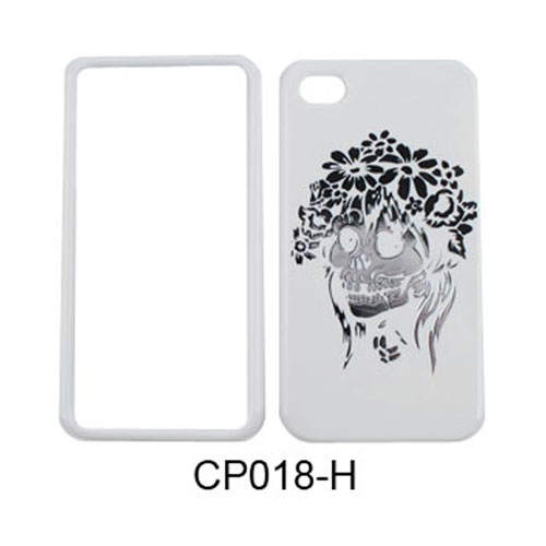 Unlimited Cellular Snap-On Case for Apple iPhone 4/4S (Chrome Print Design, Skull with Flowers on White)
