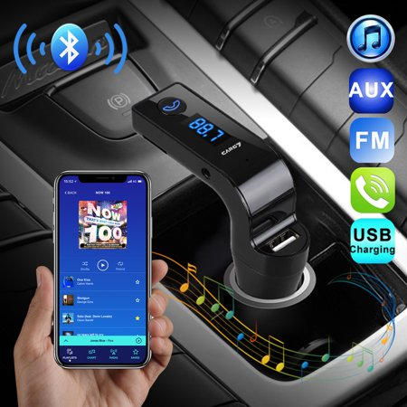 TSV Bluetooth FM Transmitter,Wireless Radio Adapter Car aux Bluetooth Hands Free Car Kit with USB Car Charger Support TF Card AUX Input for iPhone, iPod,