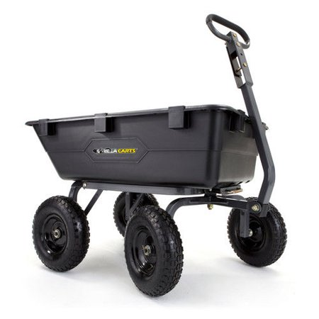 Yard Care - Gorilla Carts GOR6PS Heavy-Duty Poly Yard Dump Cart with 2-In-1 Convertible Handle, 1,200 lb Capacity, Black