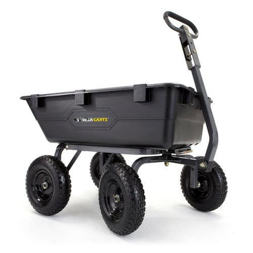 Gorilla Carts GOR6PS Heavy-Duty Poly Yard Dump Cart with 2-In-1 Convertible Handle, 1,200 lb Capacity, Black
