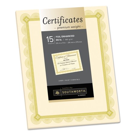 Southworth Premium Certificates, Ivory, Spiro Gold Foil Border, 66 lb, 8.5 x 11, 15/Pack -SOUCTP2V (Classroom Award Certificates)
