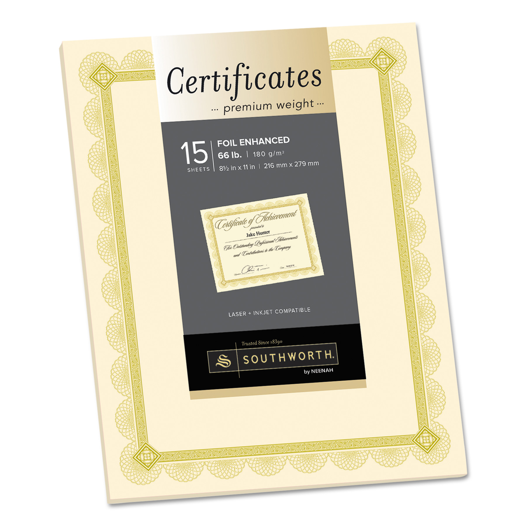 Southworth Premium Certificates, Ivory, Spiro Gold Foil Border, 66 lb, 8.5 x 11, 15/Pack -SOUCTP2V
