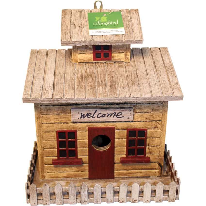 Songbird Essentials-Songbird Beach Cottage Bird House- Brown/tan 9x5.4x10.2