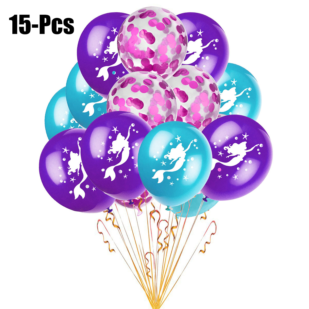 15PCS 12'' Party Balloons Mermaid Pattern Decorative Balloons Latex Balloons for Baby Shower Birthday Party