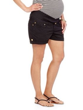 Maternity Times Two Shorts with Underbelly Panel and Cuffing (Available in Plus Sizes)