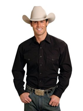 e37936c6 Product Image Stetson Western Shirt Mens L/S Solid Poplin Black 11-001-0465-