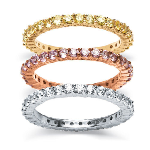 Palm Beach Jewelry 18k Gold-Plated Tri-Tone Eternity Rings