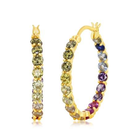 La Preciosa Silver or Gold Plated 3X25mm Inside-Outside Rainbow CZ Hoop Earrings
