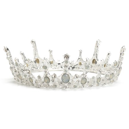 LuckyFine Bridal Silver Full Crown Queen Tiara Wedding Rhinestone Headpiece Hair Jewelry](Egyptian Queen Headpiece)