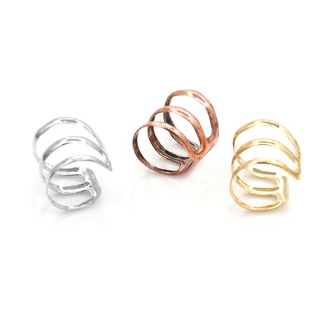 Women Simple Design Earrings Casual Three Coil Design Daily Wear Earrings - image 5 of 6
