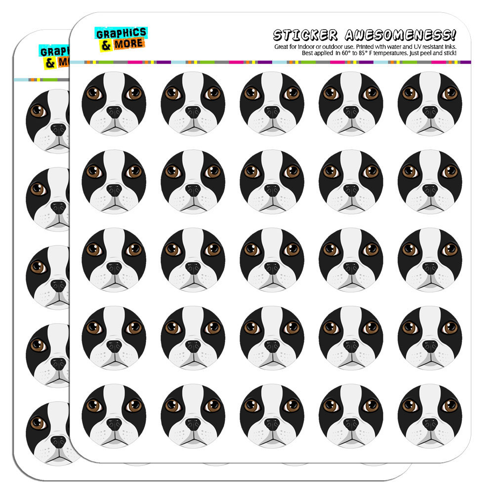 "Boston Terrier Face Pet Dog 1"" Scrapbooking Crafting Stickers"