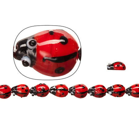Lamp Worked Glass Beads, Opaque Red Ladybug, 10x15mm Sold per pkg of 20pcs/ 30cm String