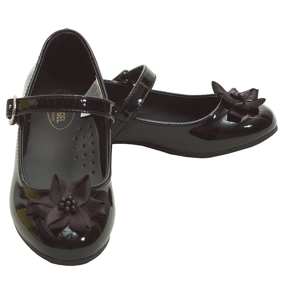 Image of Angel Black Patent Flower Accent Dress Shoes Toddler 5-Little Girls 4
