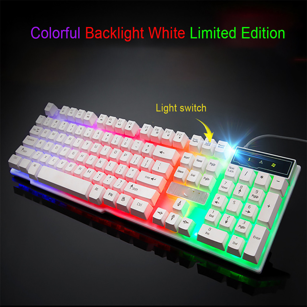 Colorful Crack LED Illuminated Backlit USB Wired PC Rainbow Gaming Keyboard.u