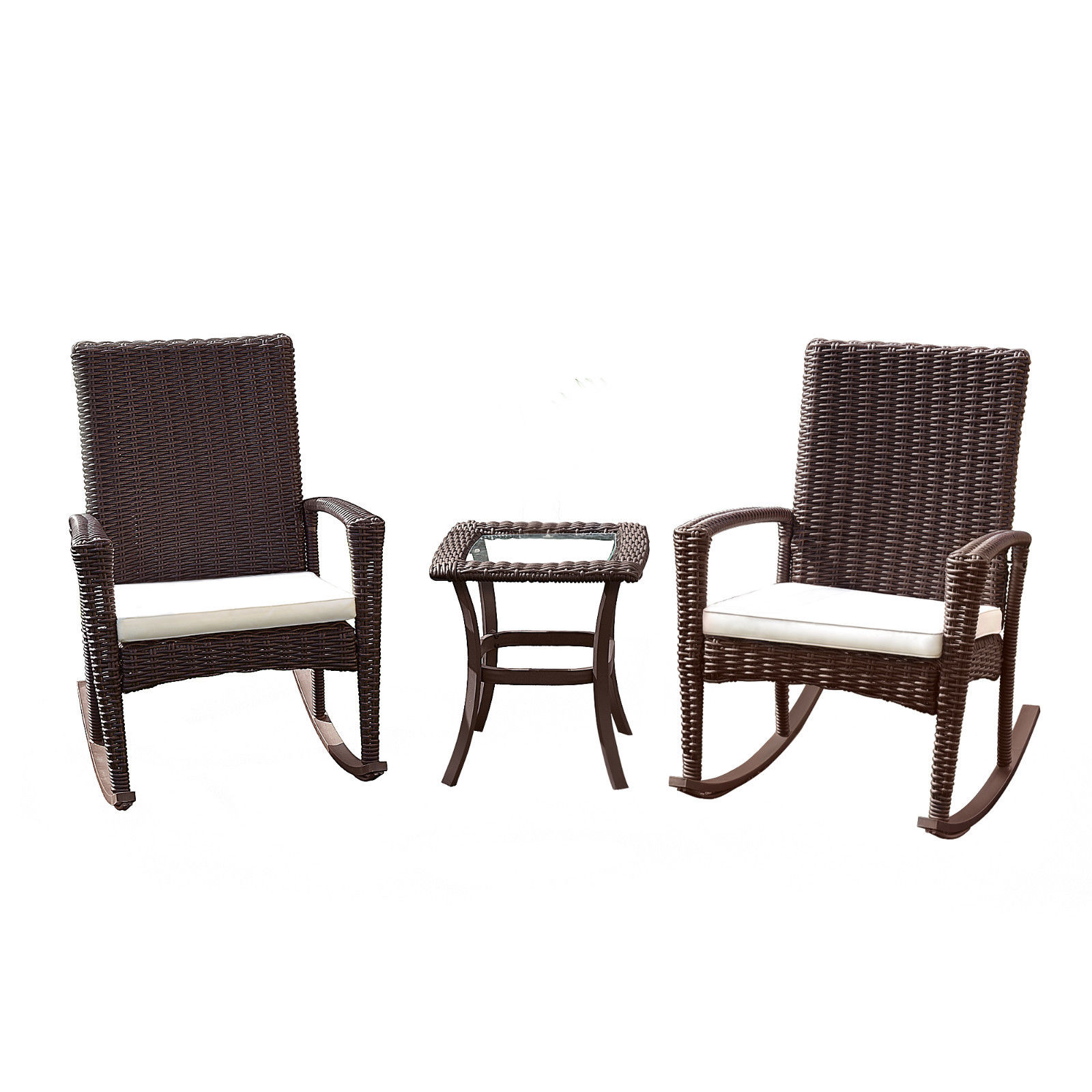 Gymax 3PC Patio Rattan Wicker Furniture Set Cushioned Outdoor Garden - image 1 of 8