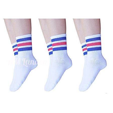 AM Landen Super Cute Women's 3 pairs White with Blue & Red Ankle Striped Socks Women's Crew Socks (Red White Stripe Socks)