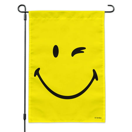 Image of Smiley Smile Happy Wink Yellow Face Garden Yard Flag