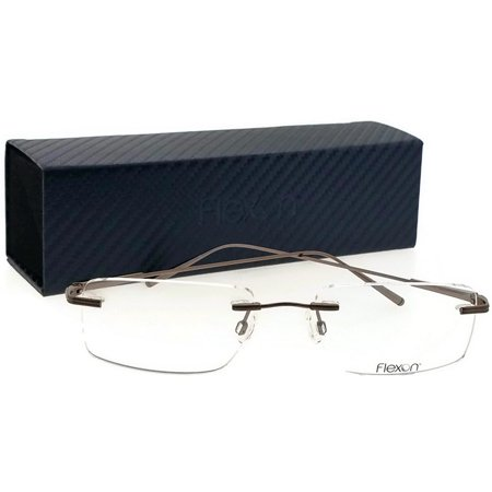 Flexon E1090-201-54 Rimless Men's Brown Frame Demo Lens Genuine Eyeglasses -