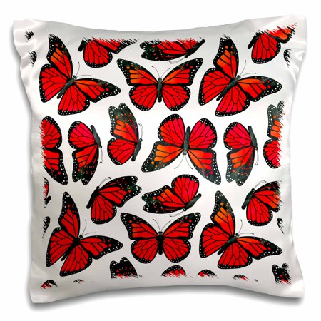 3dRose Red Monarch Butterflies, Pillow Case, 16 by 16-inch - Stained Glass Monarch Butterfly
