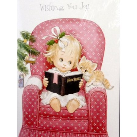 Trimmery Little Girl Reading Her Bible Christian Christmas Cards](Christian Birthday)