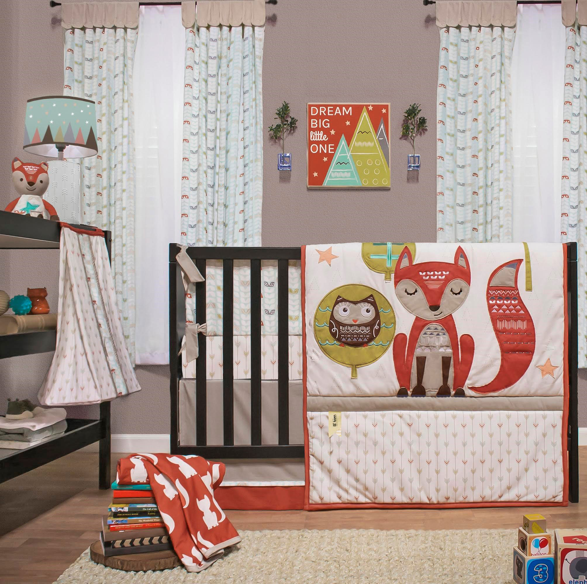 Little Haven Clever Fox Crib Bedding Set - Woodland Creatures Theme - 4 Piece Forest Animal Baby Bedding Collection