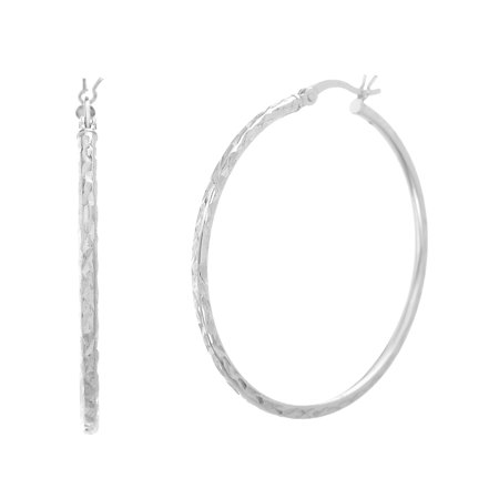 Bliss Women's Polished Diamond-Cut Patterned Round 40MM Hoop Earrings in Sterling Silver