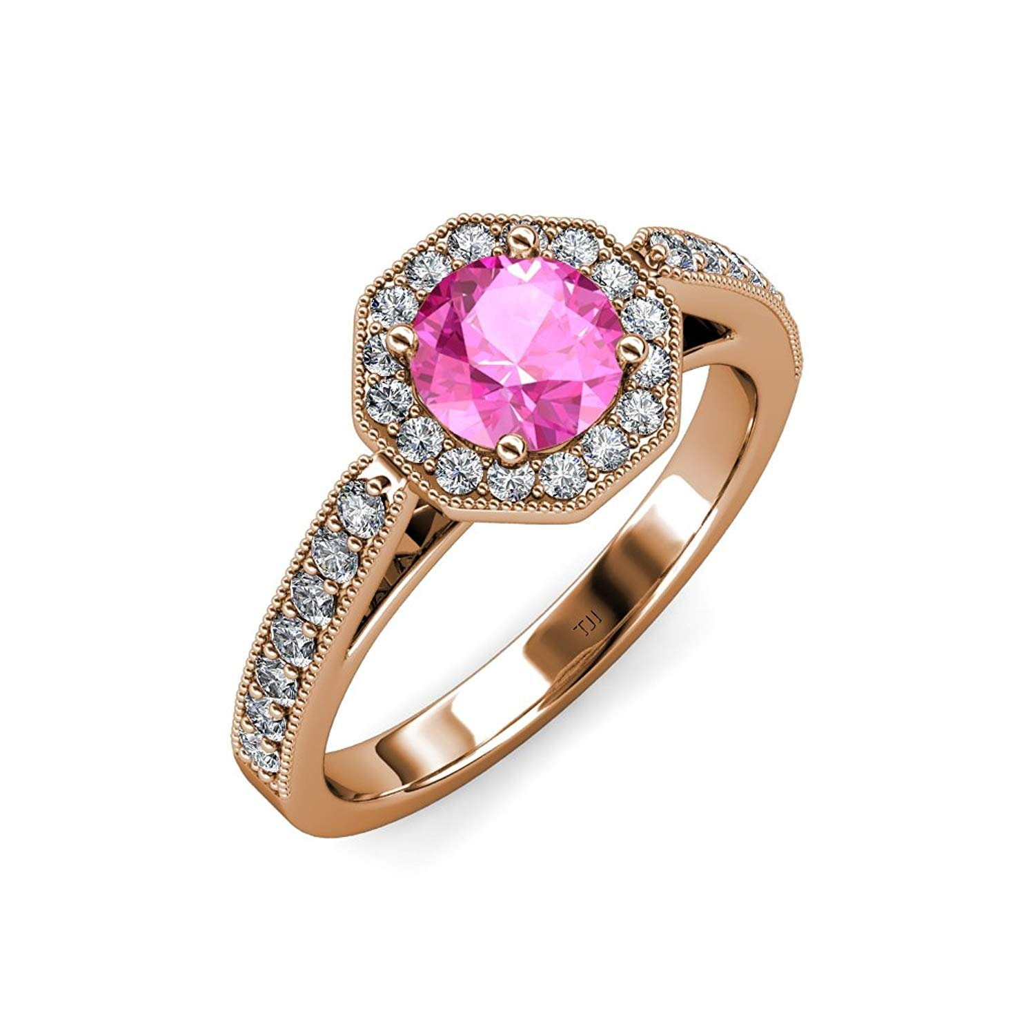 Pink Sapphire and Diamond Halo Engagement Ring with Milgrain Work 1.05 ct tw in 14K Rose Gold.size 7.5 by TriJewels