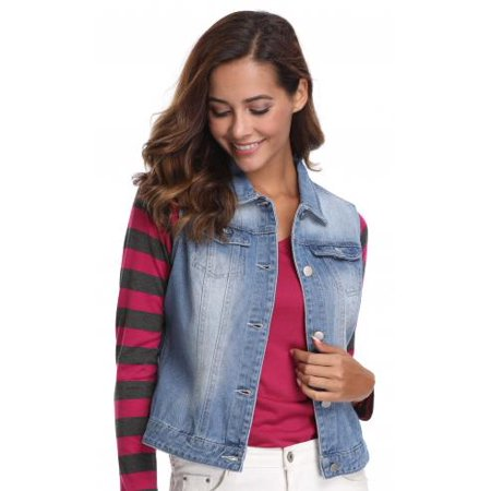 MISS MOLY Jeans Vest for Women, Denim Turn Down Collar Sleeveless Vintage Blue Color with 5 Buttons and 2 Pockets