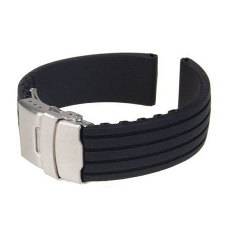 18MM 20MM 22MM 24MM Watch Strap Replacement Soft Silicone Wristband Sports Band Deployment Buckle Waterproof Band (18mm Mesh Watch Band)