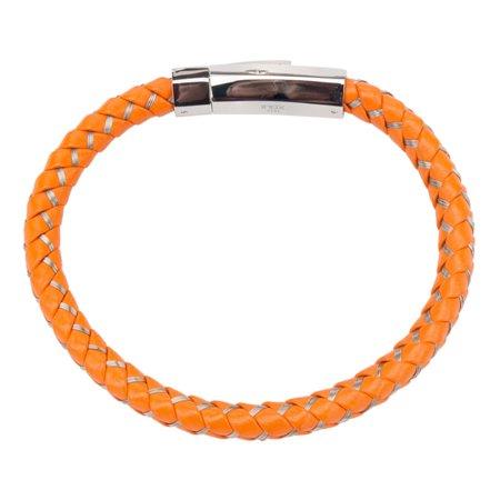 Mens Orange Woven Leather Bracelet 8 1/2 inch long - Orange Braclet