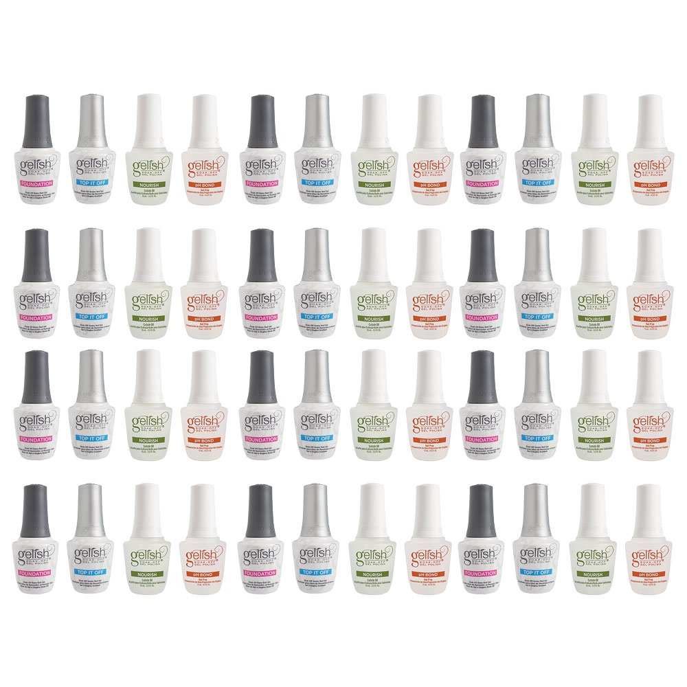 Gelish Fantastic 4 Essentials Collection Soak Off Gel Nail Polish Kit (12 Pack)