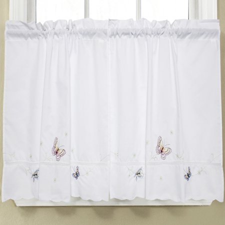 Monarch Embroidered Butterfly White Kitchen Curtains 36 x 58 Tier Pair