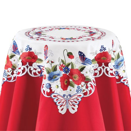 Patriotic Garden Embroidered Table Linens - Festive Fourth of July or Memorial Decorative Accent for Dining Room, Square - Patriotic Table