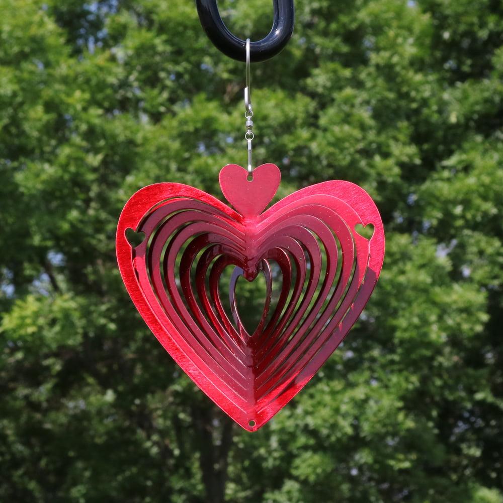 Sunnydaze 3D Heart Whirligig Wind Spinner with Hook, 6-Inch by Sunnydaze Decor