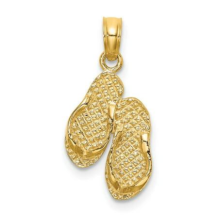 14k Yellow Gold Sanibel Island Double Flip-Flop Charm Pendant