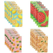 24 Pack Tropical Fruit Spiral Notebooks, Notepads Bulk for Kids, 4 Designs, 3 x 5 in.