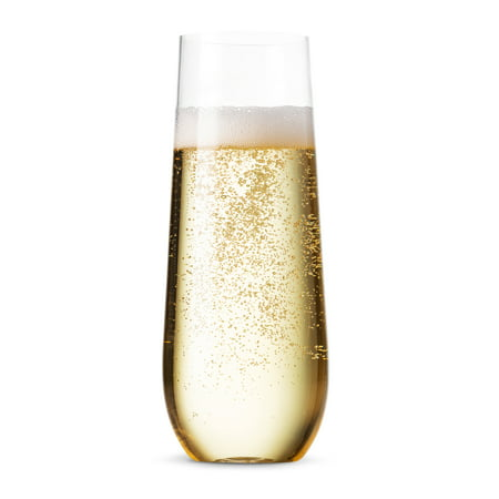 24 Pack Stemless Plastic Champagne Flutes Disposable 9 Oz Clear Plastic Toasting Glasses Shatterproof Recyclable and BPA-Free