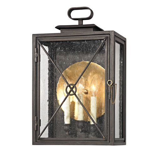 Bliss Vintage Bronze Three-Light Outdoor Wall Sconce by