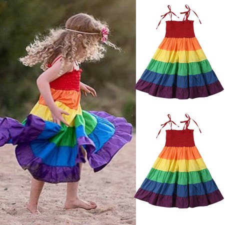 Summer Toddler Baby Girls Clothes Strap Princess Party Dress Rainbow Sundress](Dresses For Girls For Party)