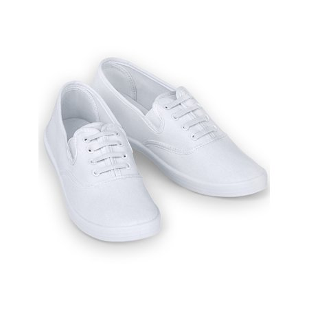 - Ladies Slip-On No Tie Comfort Canvas Round Toe Sneaker Shoes, 6, White